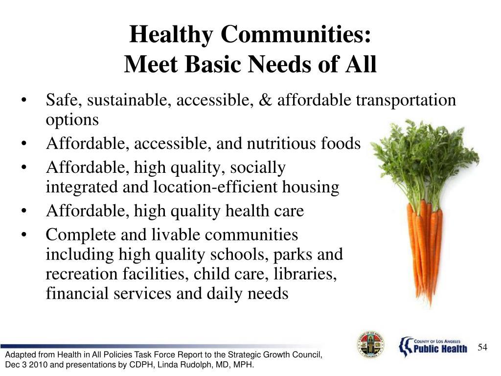Healthy Communities: