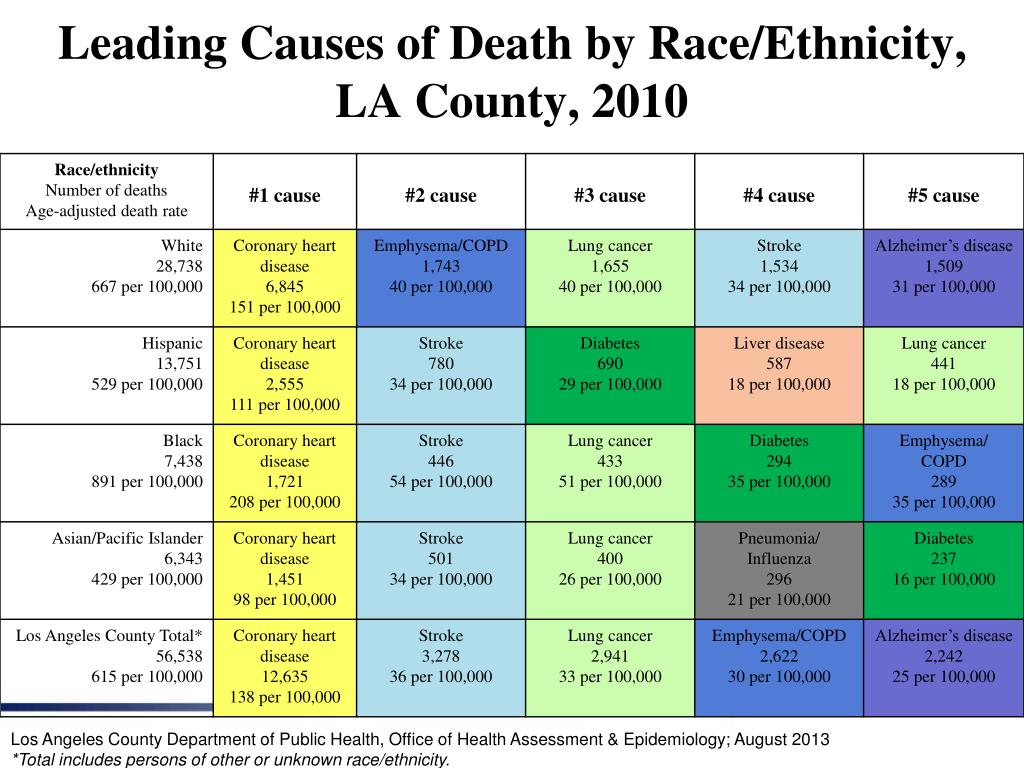 Leading Causes of Death by Race/Ethnicity,