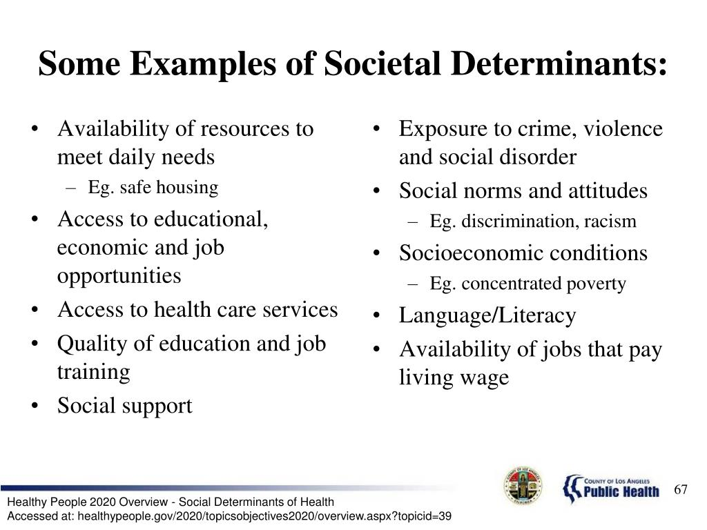 Some Examples of Societal Determinants: