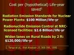 cost per hypothetical life year saved 1