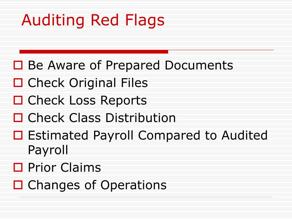 Auditing Red Flags