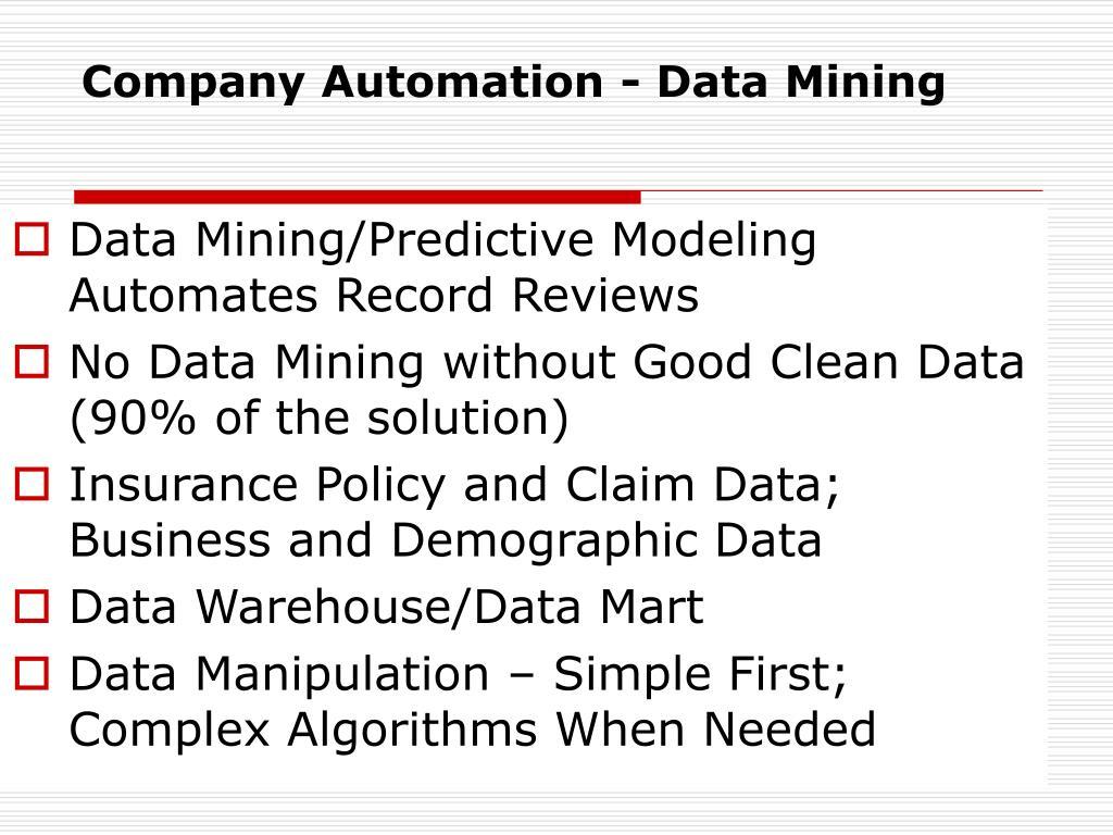 Company Automation - Data Mining