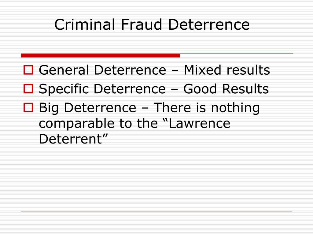 Criminal Fraud Deterrence