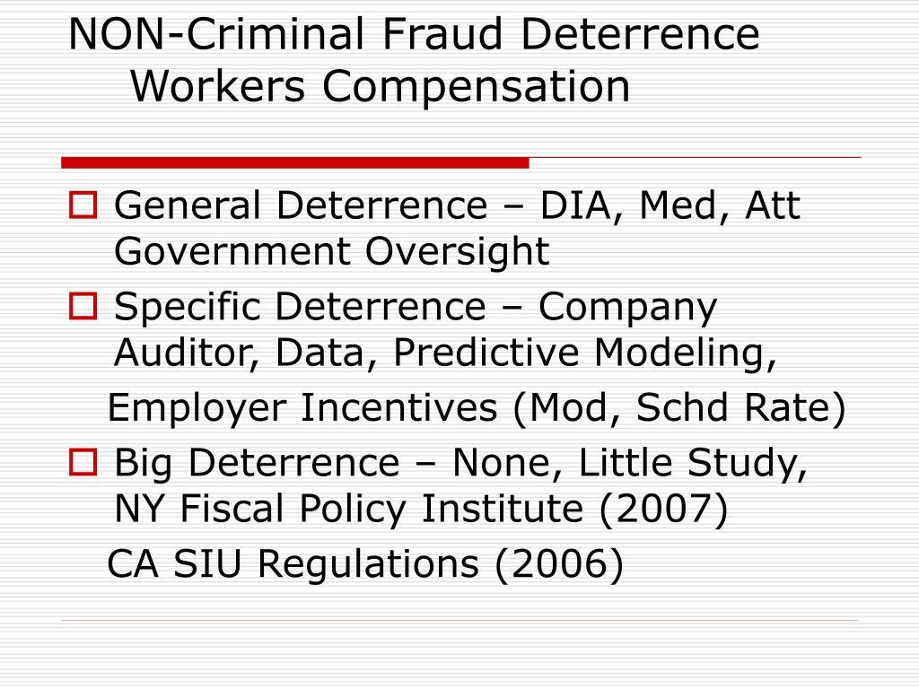 NON-Criminal Fraud Deterrence