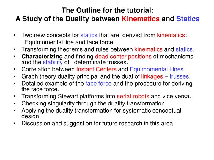 The Outline for the tutorial: