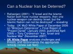 can a nuclear iran be deterred5