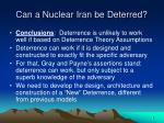 can a nuclear iran be deterred9