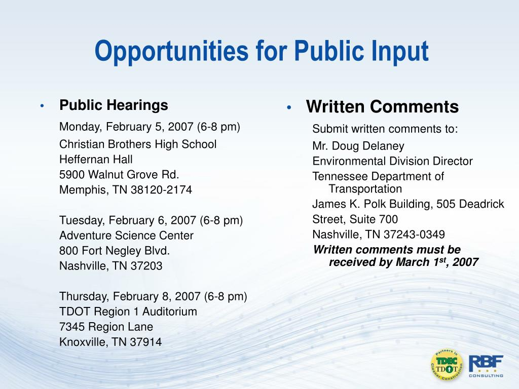 Opportunities for Public Input