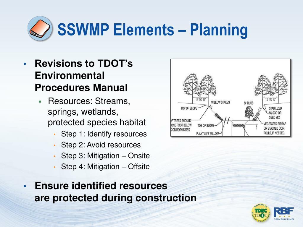 SSWMP Elements – Planning