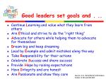 good leaders set goals and