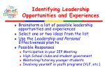 identifying leadership opportunities and experiences