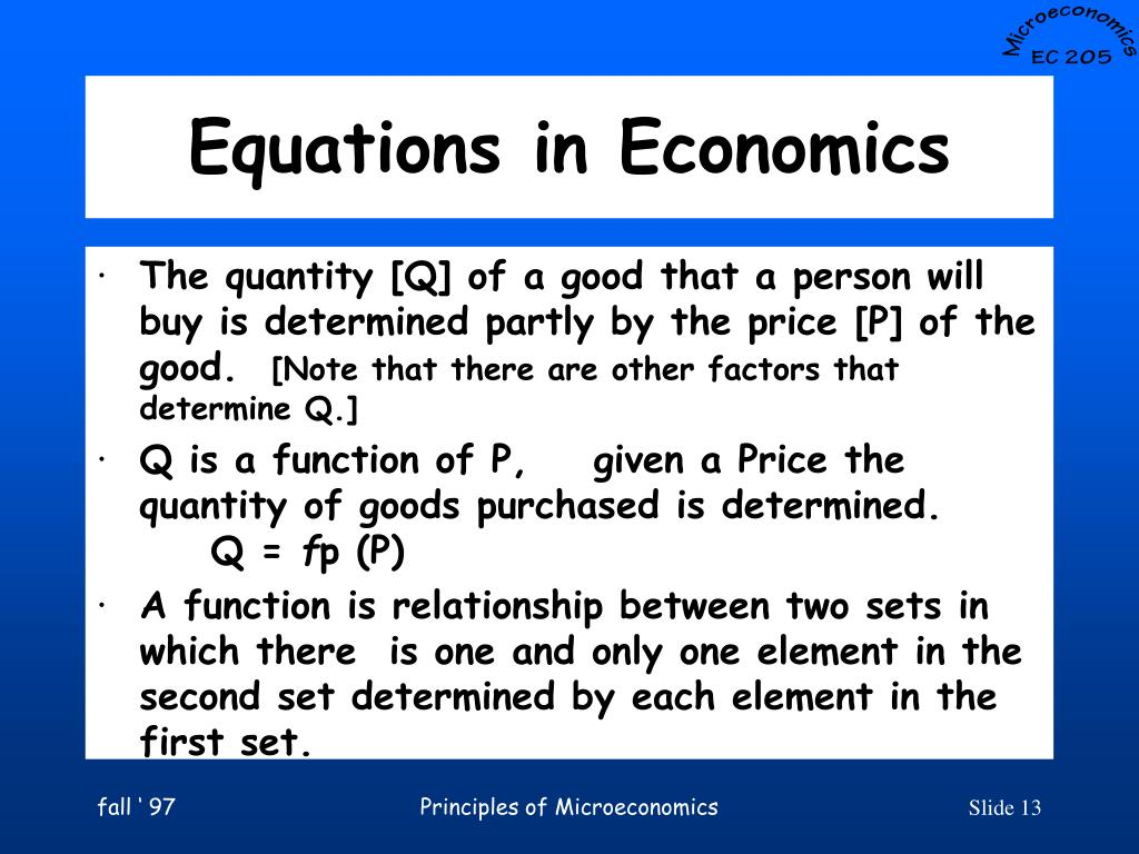 Equations in Economics