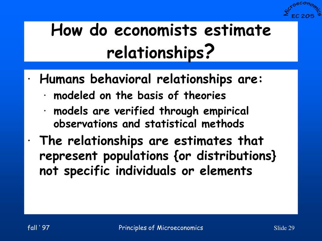 How do economists estimate relationships