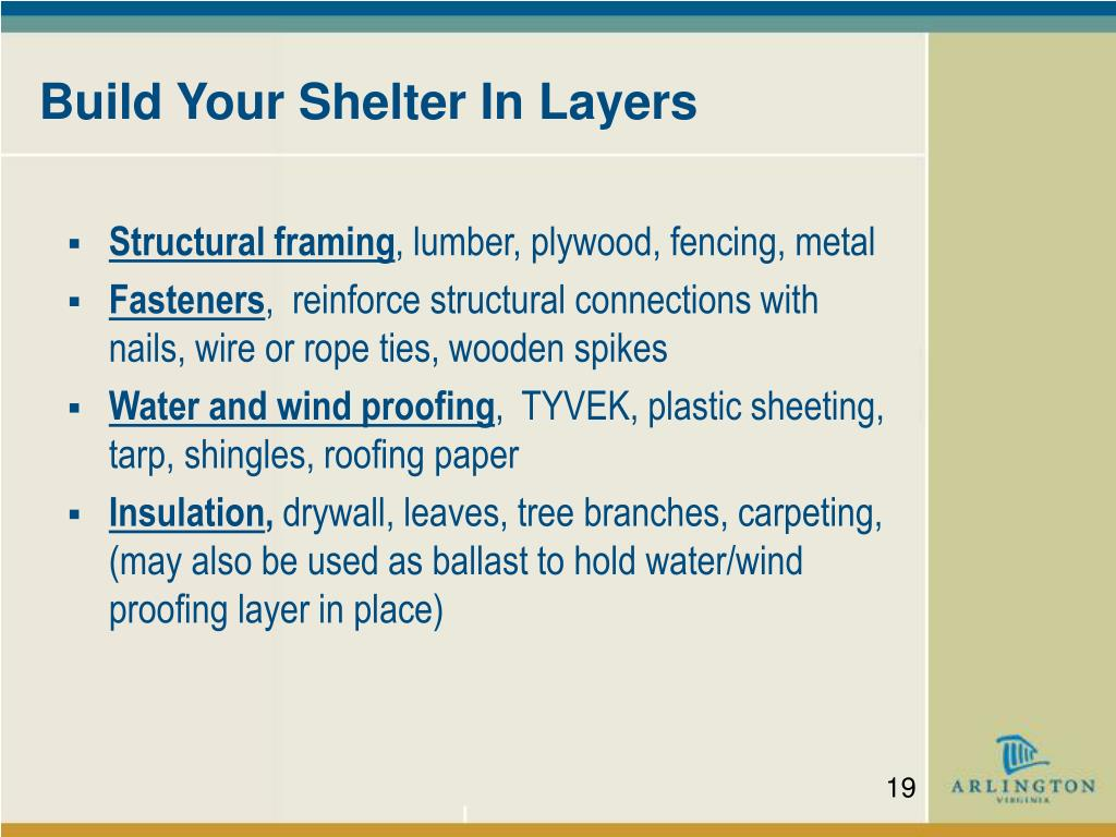 Build Your Shelter In Layers