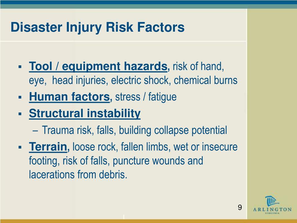 Disaster Injury Risk Factors