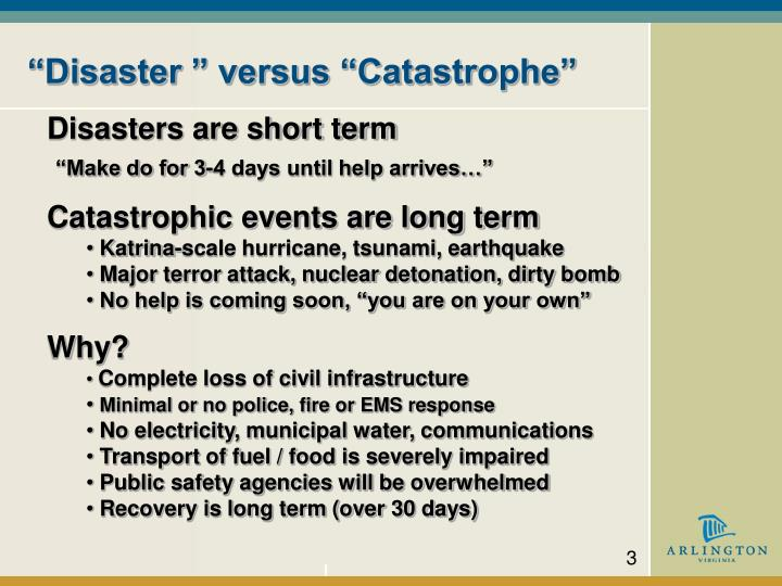 Disaster versus catastrophe