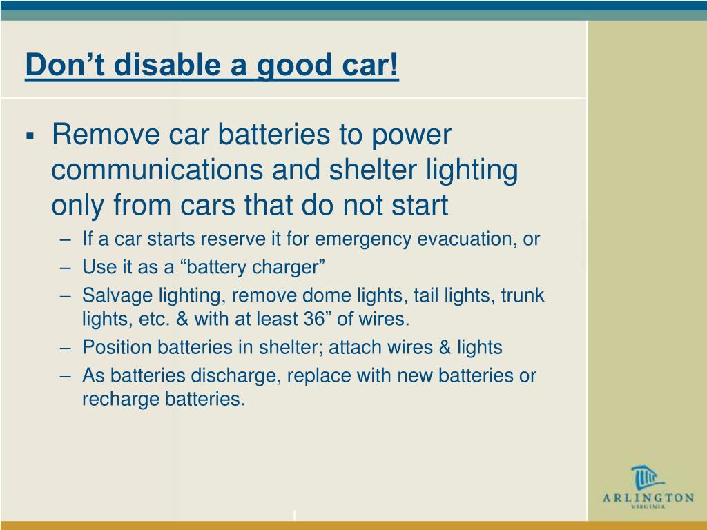 Don't disable a good car!
