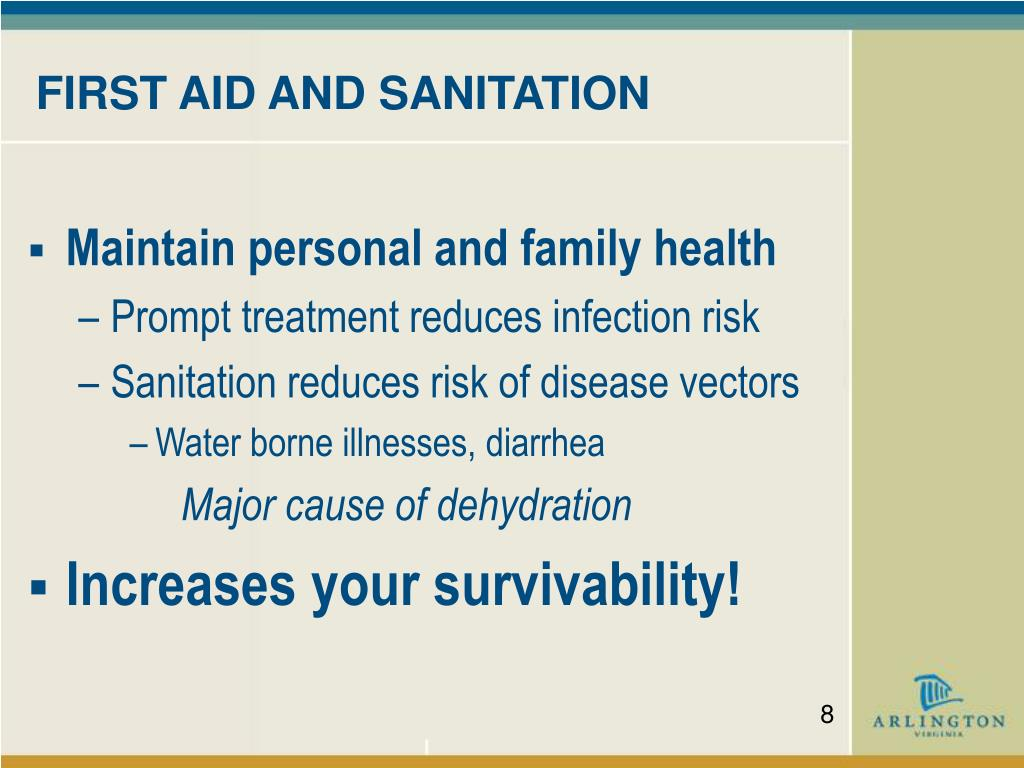 FIRST AID AND SANITATION