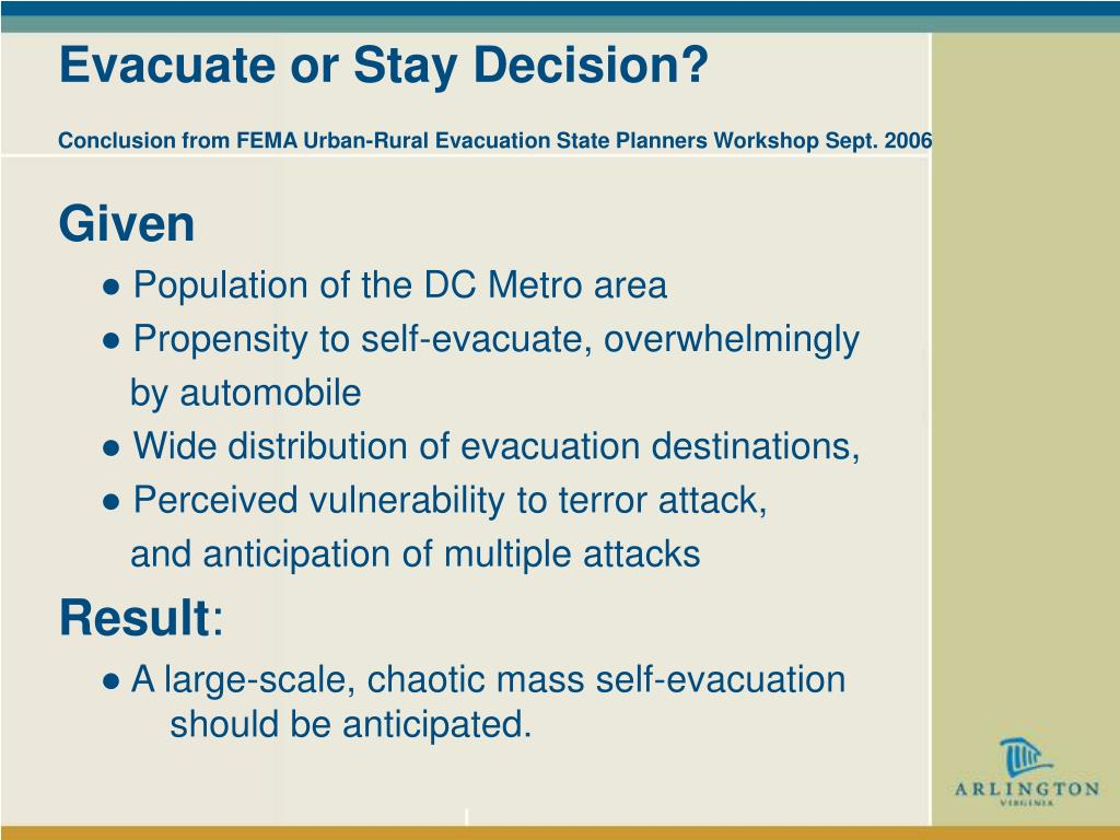 Evacuate or Stay Decision?