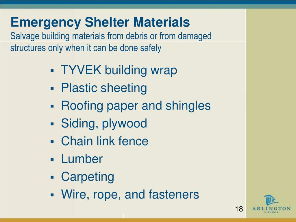 Emergency Shelter Materials