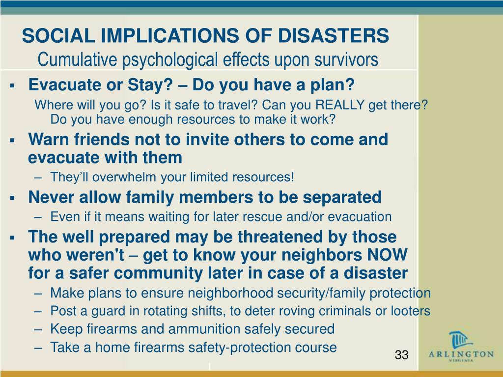 SOCIAL IMPLICATIONS OF DISASTERS