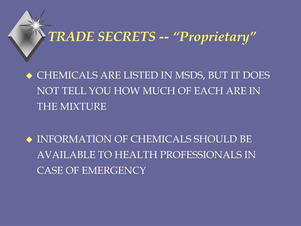 """TRADE SECRETS -- """"Proprietary"""""""