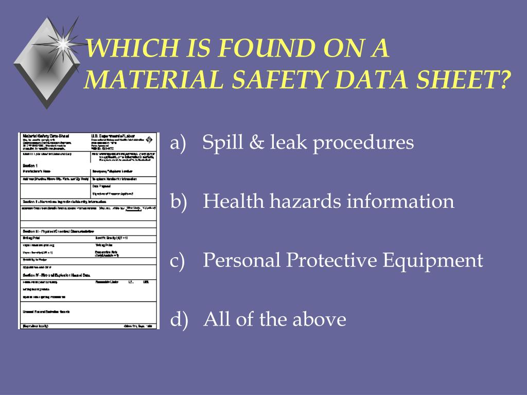 WHICH IS FOUND ON A MATERIAL SAFETY DATA SHEET?
