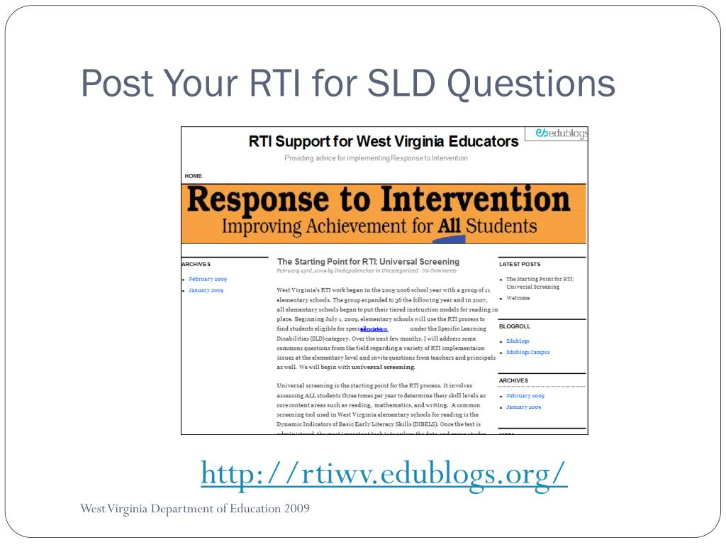 Post Your RTI for SLD Questions
