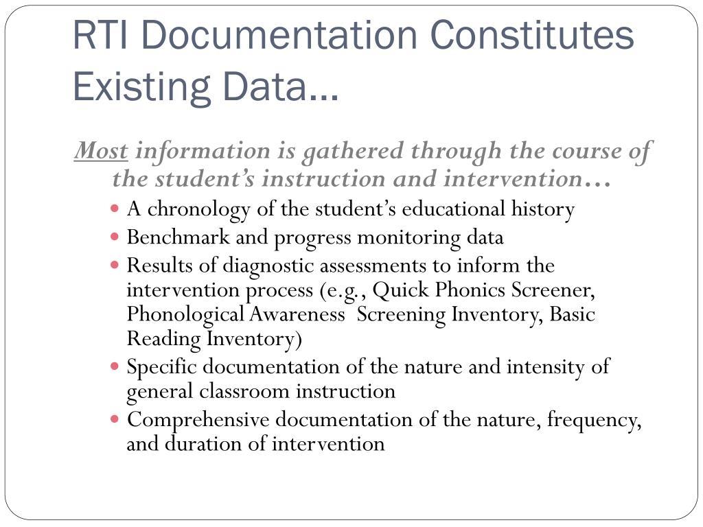 RTI Documentation Constitutes Existing Data…
