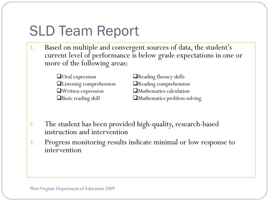 SLD Team Report