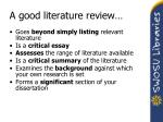 a good literature review