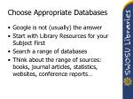 choose appropriate databases