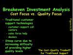 breakeven investment analysis