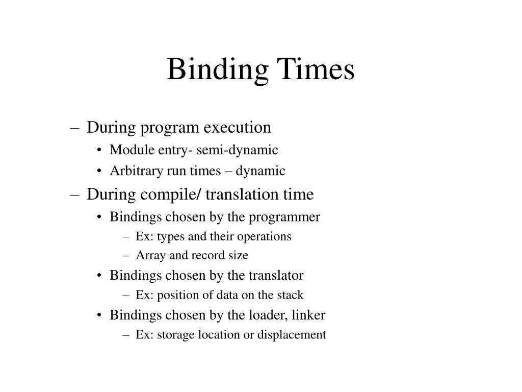 Binding Times