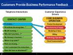 customers provide business performance feedback