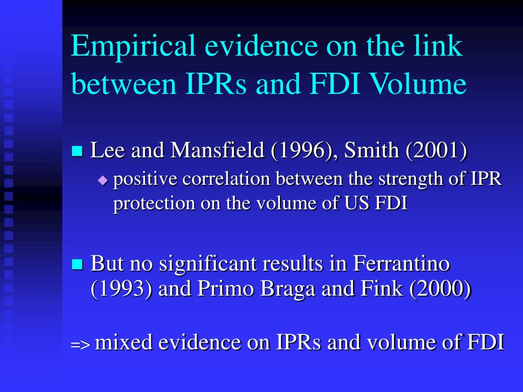 Empirical evidence on the link between IPRs and FDI Volume