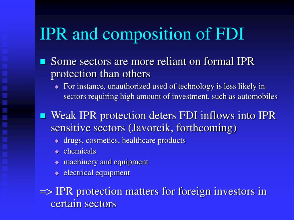 IPR and composition of FDI