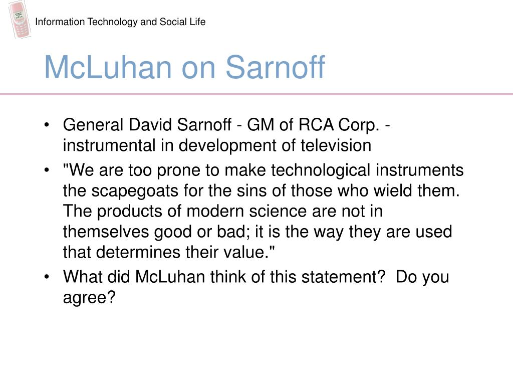 McLuhan on Sarnoff