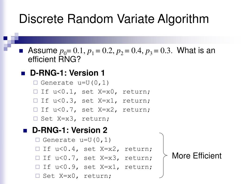 Discrete Random Variate Algorithm