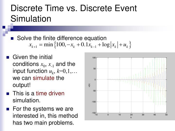 Discrete time vs discrete event simulation