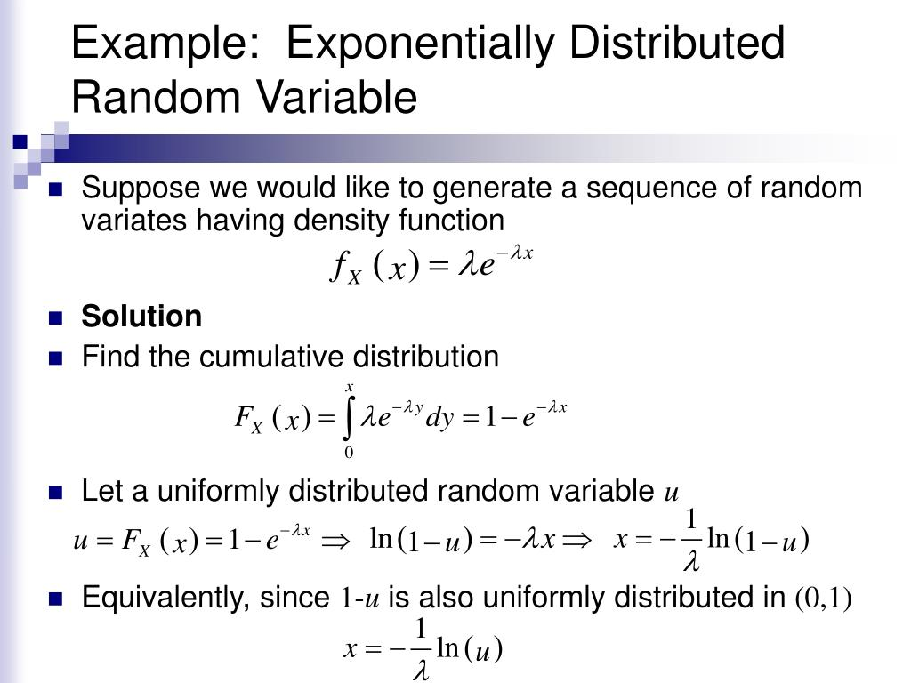 Example:  Exponentially Distributed Random Variable