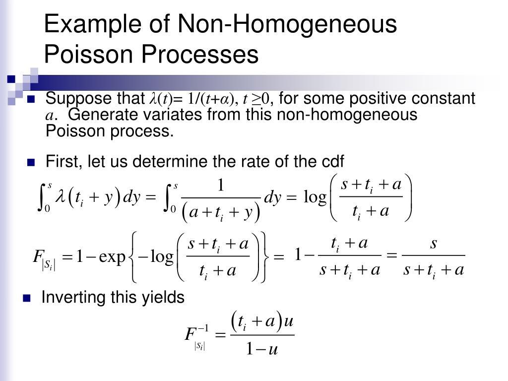 Example of Non-Homogeneous Poisson Processes