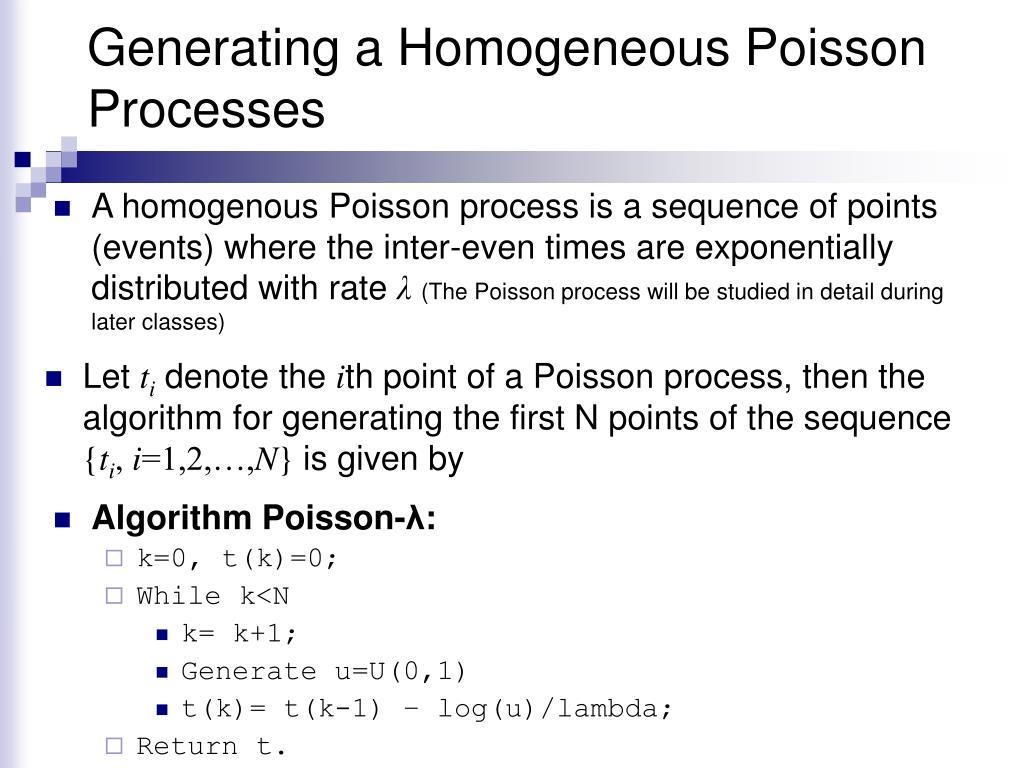 Generating a Homogeneous Poisson Processes