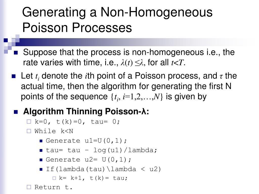 Generating a Non-Homogeneous Poisson Processes
