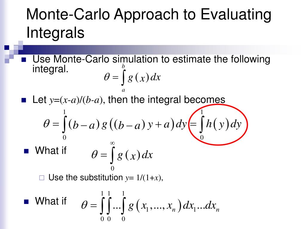 Monte-Carlo Approach to Evaluating Integrals