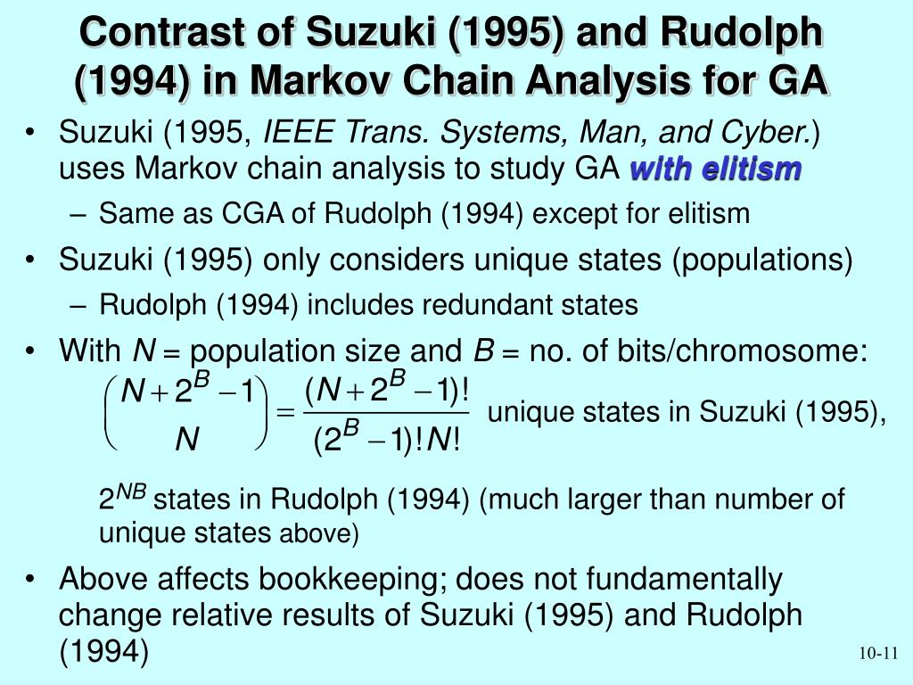 Contrast of Suzuki (1995) and Rudolph (1994) in Markov Chain Analysis for GA