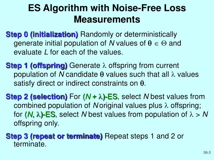 Es algorithm with noise free loss measurements