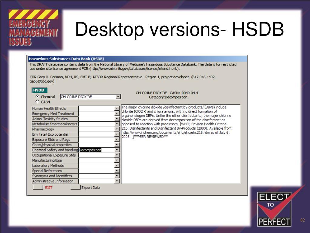 Desktop versions- HSDB