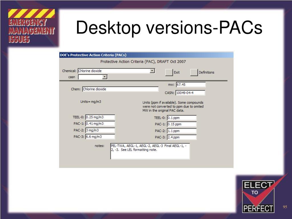 Desktop versions-PACs