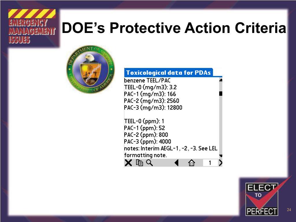 DOE's Protective Action Criteria